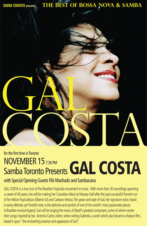 Gal Costa, Filo Machado and Sambacana @ Massey Hall November 15